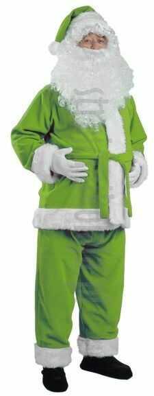 Strój Mikołaja w kolorze awokado - kurtka, spodnie i czapka