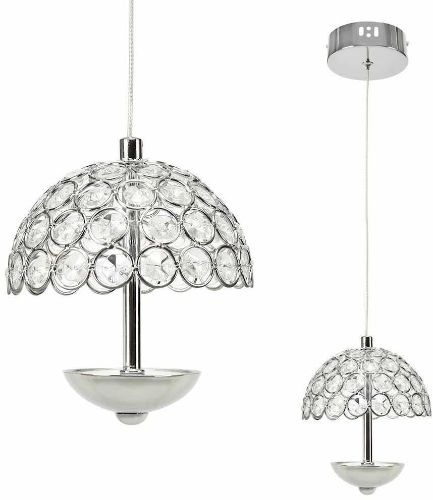Milagro VENUS ML314 lampa wisząca chrom metal klosz dekoracyjny ażurowy kryształ parasolka regulowane zawiesie 1x5W LED 4000K 12cm