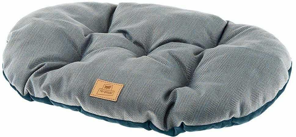 Poduszka dla psów i kotów STUART 55/4, dwustronna, z tweed, miękkiego aksamitu, nadaje się do prania, niebieska