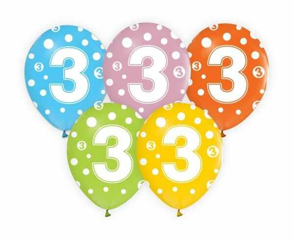 Balony z cyfrą 3 na trzecie urodziny 5 sztuk GZ-CYF3