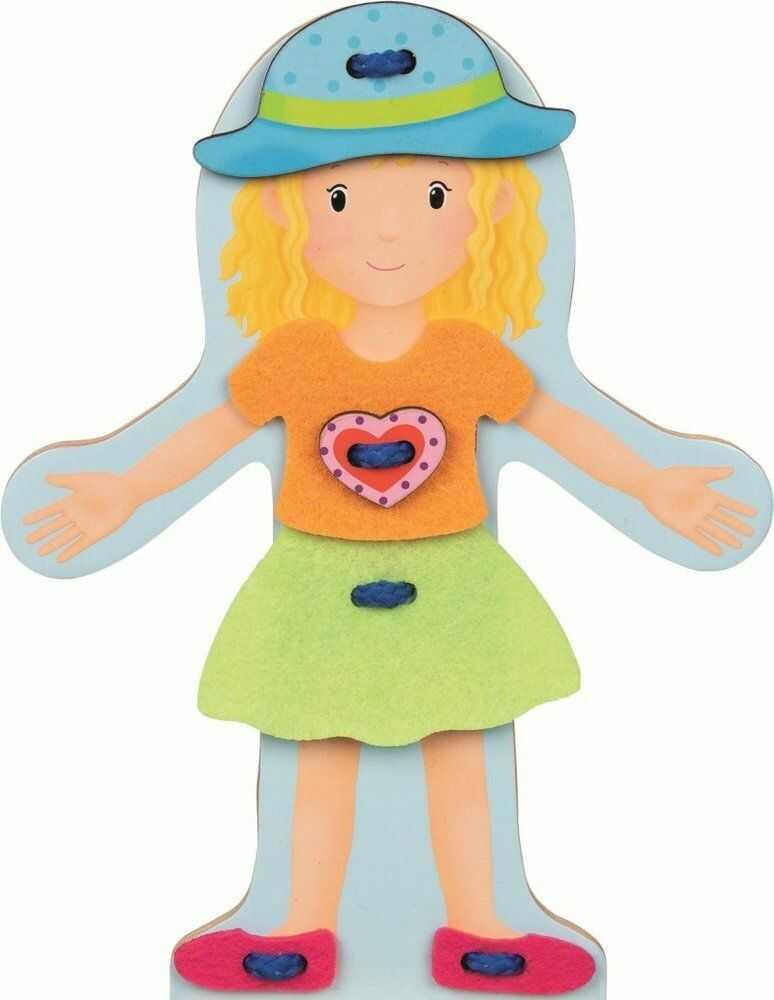 Układanka drewniana Stylowa przebieranka Mona 58724-Goki, sznurowanie dla dzieci