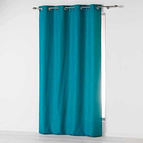 Douceur d''Intérieur Absolu zasłona z mikrofibry z oczkami, jednokolorowa, poliester, niebieski, 280 x 140 cm