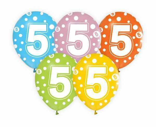 Balony z cyfrą 5 na piąte urodziny 5 sztuk GZ-CYF5