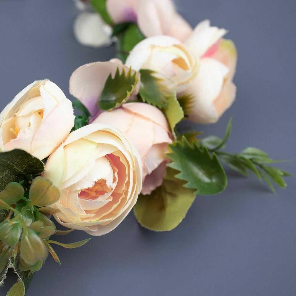 Wianek na głowę boho kwiaty kremowy ślubny piwonie