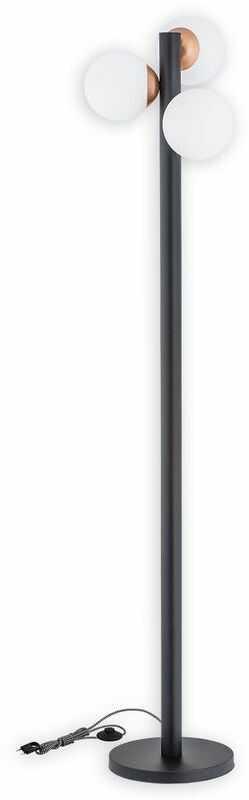 Ente lampa podłogowa 3 pł. / czarny matowy + miedź