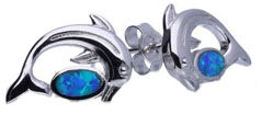 Srebrne kolczyki 925 delfin z opalem 1,65g