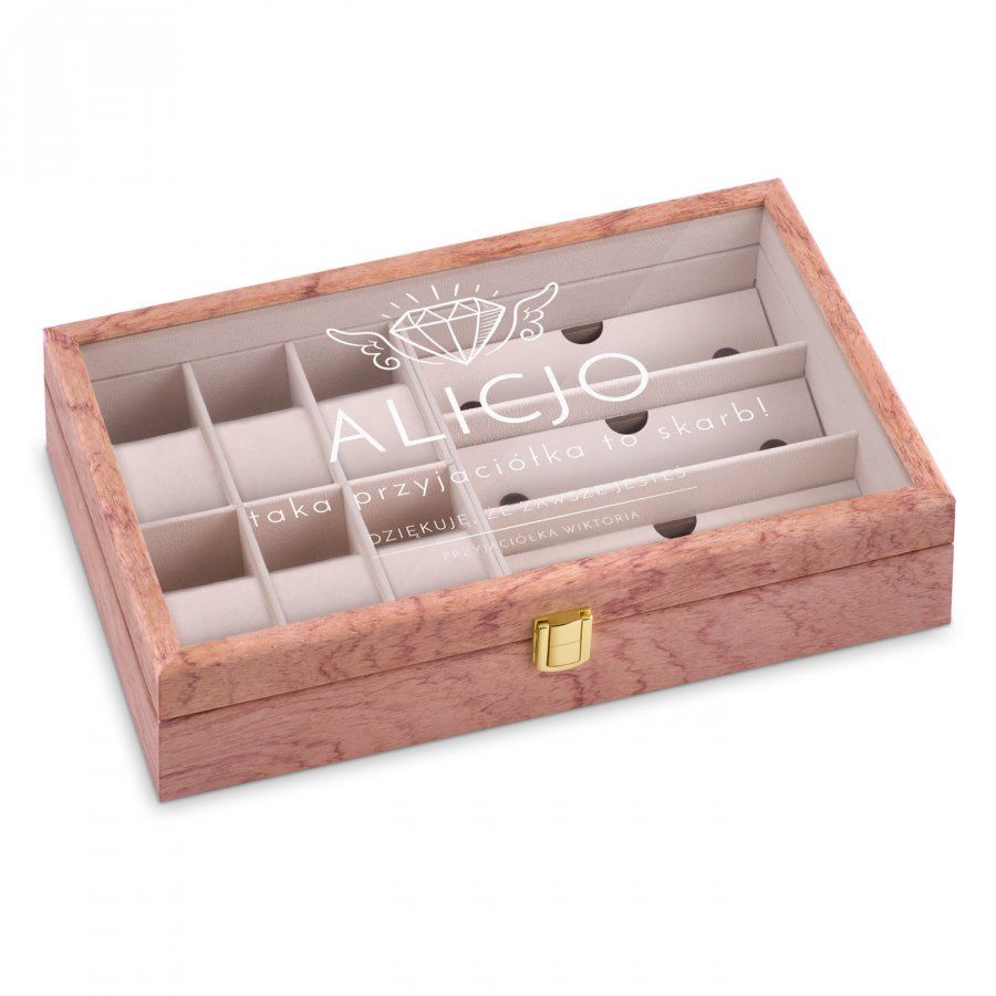 Szkatułka drewniana na zegarki i okulary z grawerem dla przyjaciółki