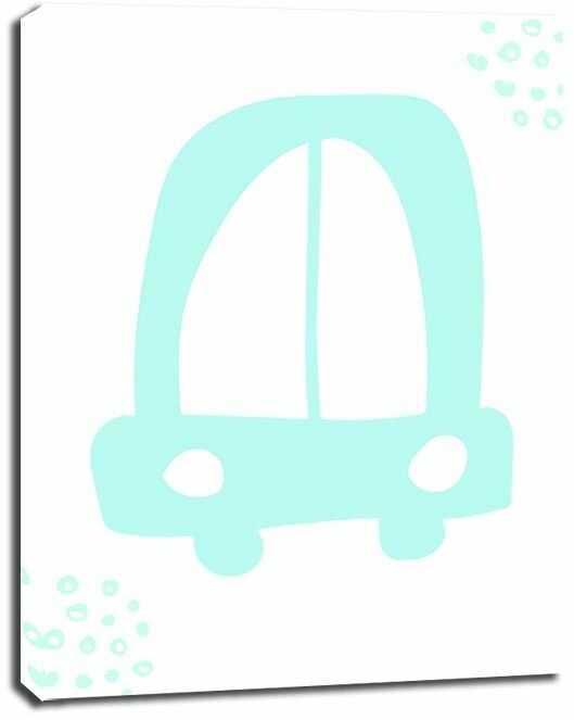 Błękitne auto - obraz na płótnie wymiar do wyboru: 40x50 cm