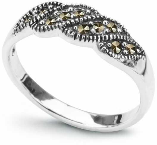 Staviori pierścionek. markazyty. srebro rodowane 0,925. szerokość 6,2 mm.