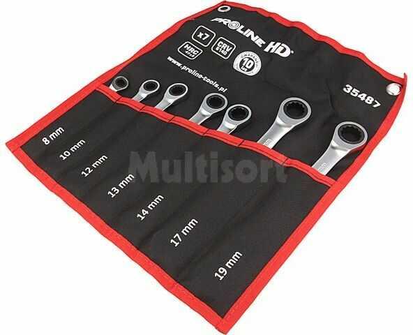 Zestaw kluczy płasko-oczkowych z grzechotką PROLINE 35487 7szt.