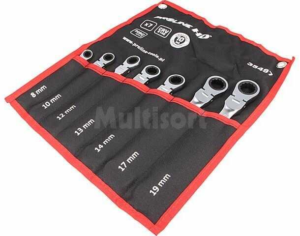 Zestaw kluczy płasko-oczkowych z grzechotką z przegubem PROLINE 35497 7szt.