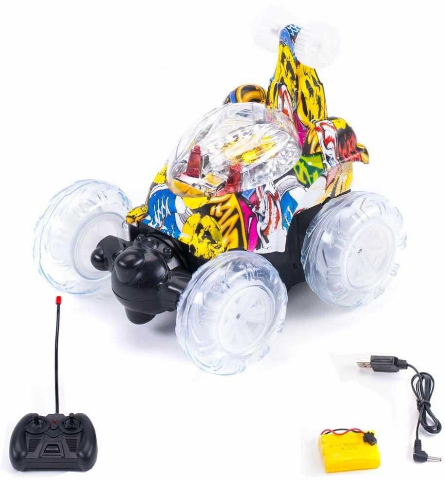 RCG Racing BN0276549, RC Stunt Car Niezwyciężony Tornado Twister Pilot Ciężarówka Ładowany pojazd z kolorowymi światłami i przełącznikiem muzycznym dla dzieci