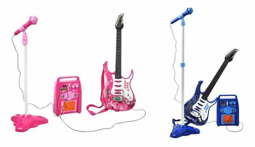 Gitara Elektryczna + Mikrofon + Wzmacniacz (2 kolory do wyboru: niebieski i różowy).