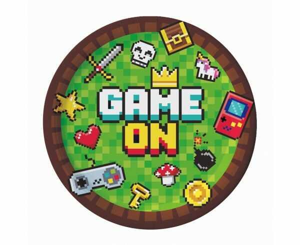 Talerzyki papierowe Game On Piksele 18cm 6 sztuk PF-T7GO