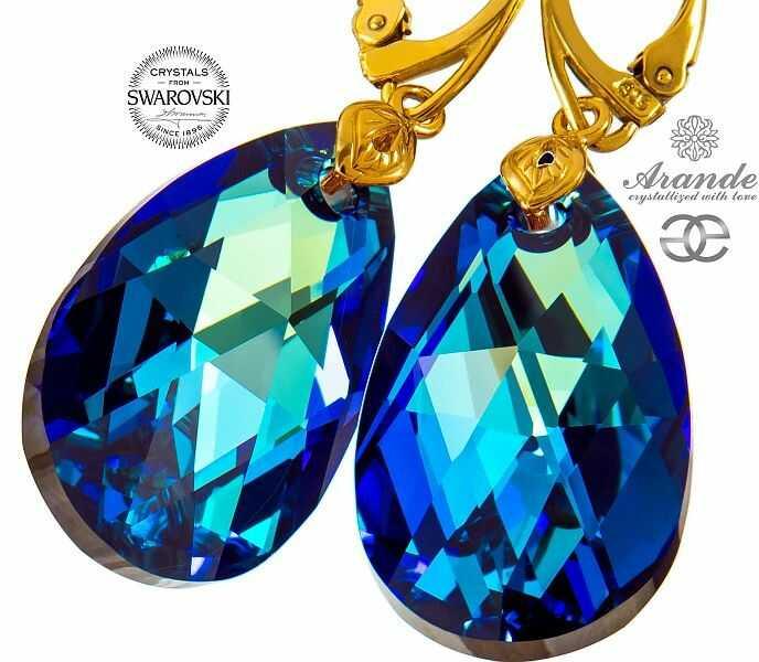 NOWOŚĆ Kryształy kolczyki ZŁOTE SREBRO BERMUDA BLUE GOLD