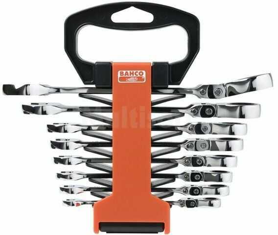 Zestaw kluczy płasko-oczkowych z grzechotką z przegubem BAHCO 41RM/SH8 8szt.