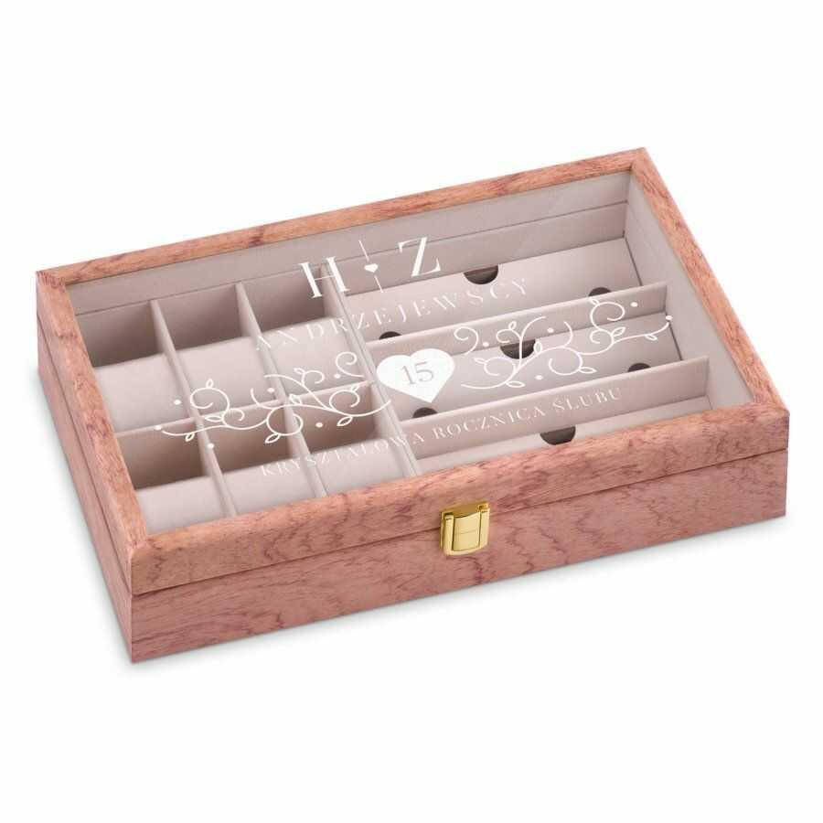 Szkatułka drewniana na zegarki i okulary z grawerem dla pary na 15