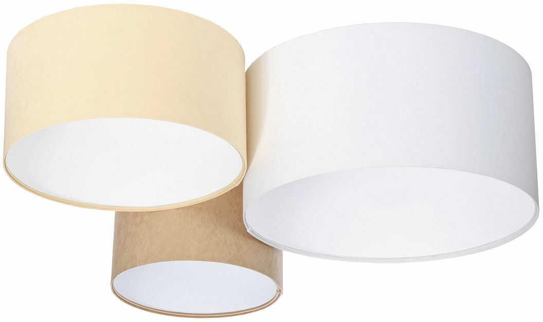 Biało-beżowy plafon z białym wnętrzem abażura - EXX35-Prilo