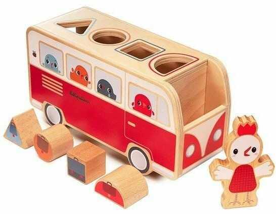 LILLIPUTIENS - Drewniany autobus - sorter z 4 kurczaczkami Kokoszka Paulette 12 m+