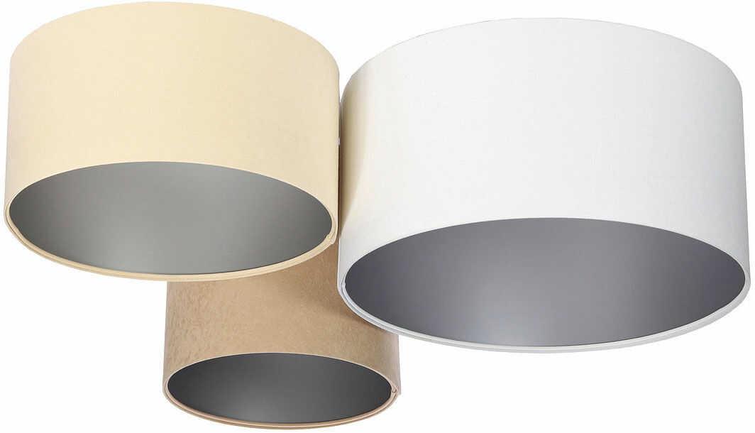 Biało-beżowy plafon ze srebrnym wnętrzem abażura - EXX35-Prilo