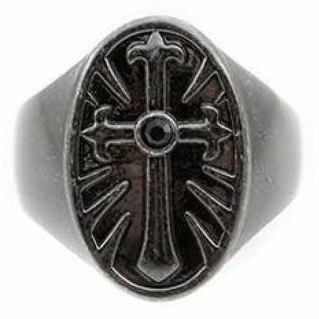Biżuteria męska Icon Brand Jewellery Rebel Heritage Onyx Cross Ring Size Large RH015-R-BLK-LGE