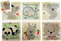 Hess drewniana zabawka 14957 - puzzle z drewna dla dzieci od 3 lat, niedźwiedź natura, 6 obrazków, 24 części, prezent na urodziny, Boże Narodzenie lub Wielkanoc