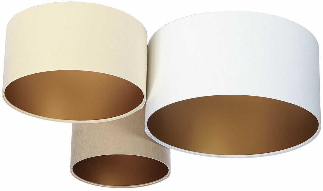 Biało-beżowy plafon ze złotym wnętrzem abażura - EXX35-Prilo