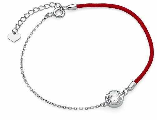 Bransoletka szczęścia celebrytka kółko circle ring bawełna cyrkonie srebro 925 Z1669B_R