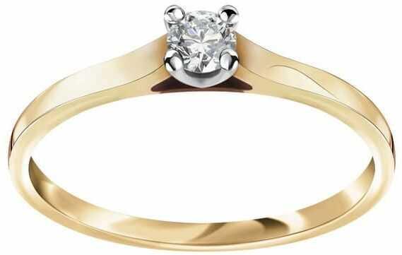 Staviori pierścionek. 1 diament, szlif brylantowy, masa 0,14 ct., barwa h, czystość si2. żółte złoto 0,585.