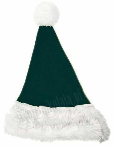 Ciemnozielona czapka Mikołaja dla dzieci