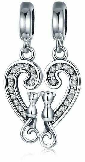 Rodowany srebrny wiszący podwójny charms do pandora kot cat friends przyjaciele cyrkonie srebro 925 BEAD133