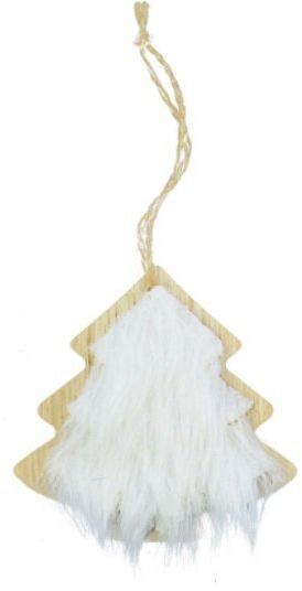 Zawieszka na choinkę drewniana choinka z białym futerkiem 1szt. BD8079CH