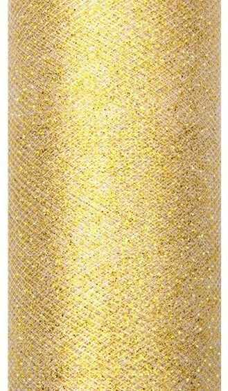 Tiul dekoracyjny złoty 15cm x 9m 1 rolka TIUG15-019