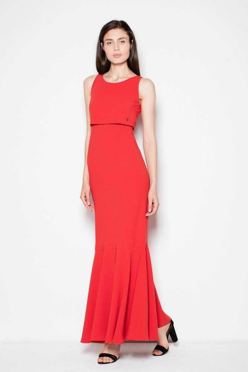 Czerwona wieczorowa maxi sukienka z nakładką