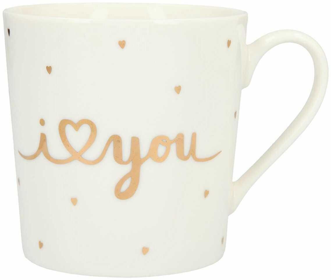 Depesche 5909.011 filiżanka z uchwytem, z porcelany, 300 ml, z napisem, I (serce) You, wielokolorowa