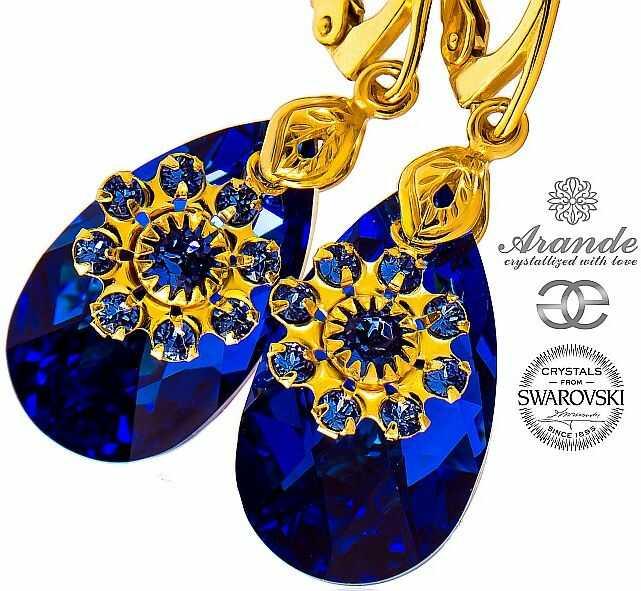 SWAROVSKI piękne kolczyki BLUE FLOW GOLD