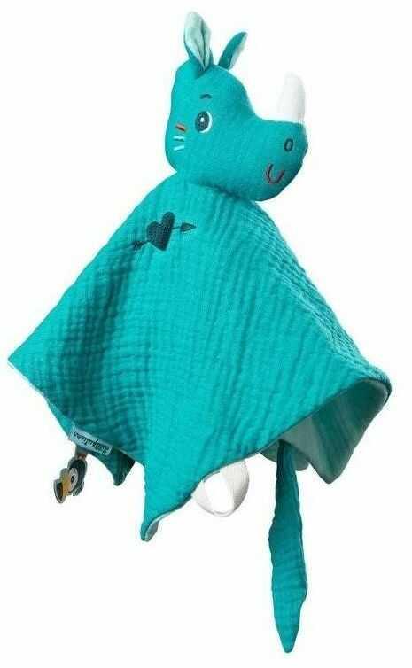 LILLIPUTIENS - Muślinowy komforter z mini-pacynką na palec Nosorożec Marius 0 m+