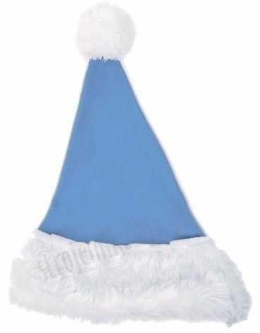 Błękitna czapka Mikołaja dla dzieci
