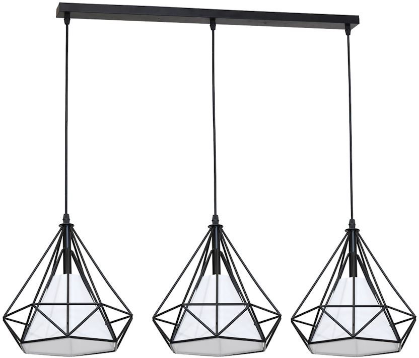 Milagro TRIANGOLO ML162 lampa wisząca czarny trzy druciane klosze z geometrycznymi wycięciami regulowana wysokość 3xE27 80cm