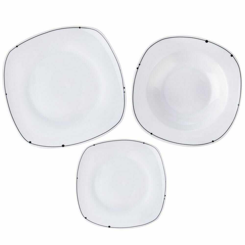 Serwis OBIADOWY kwadratowy porcelanowy zestaw talerzy komplet 18 el.