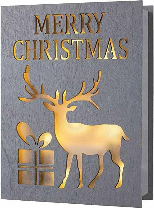 WeRChristmas Pre-Lit Merry Christmas drewniana książka z reniferem, wielokolorowa, 20 cm