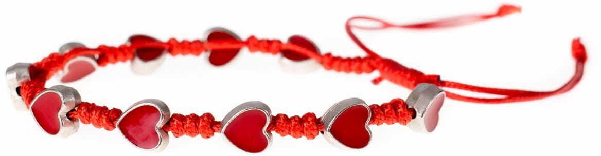 Bransoletka dziesiątek różańca z sercami