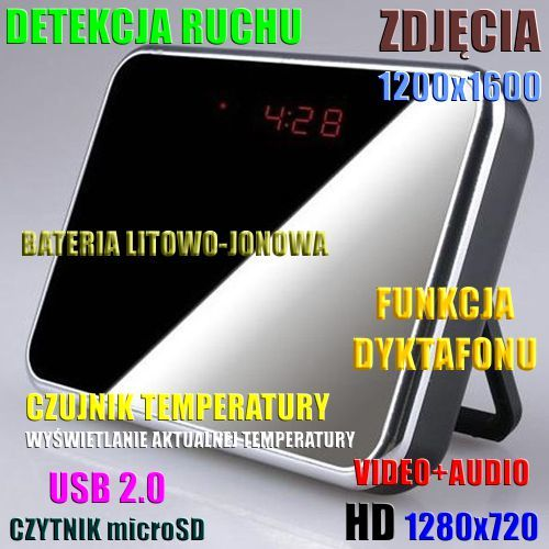 Szpiegowski Zegar Biurkowy, Nagrywający Obraz HD i Dźwięk + Detekcja Ruchu + Rejestrator Dźwięku..