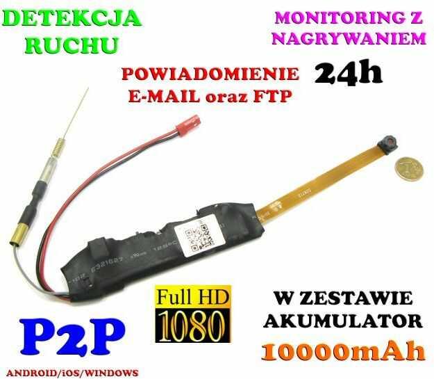 Mini-Kamera WiFi/P2P (do ukrycia/zabudowy) Full HD!! 21-Dni Pracy (zasięg cały świat!!) + Zapis...