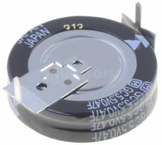 Kondensator elektrolityczny PANASONIC THT 0,47F 5,5V O21x5,5mm pionowy