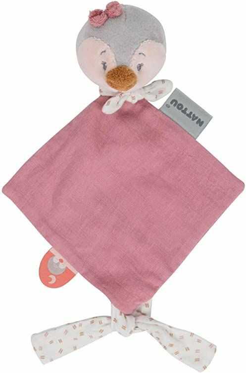 Nattou Mini chustka Pingwin Sasha, towarzysz od urodzenia, 30 x 20 cm, bawełna/poliester, Pauline i Sasha, brudny róż/różowy/jasnoszary