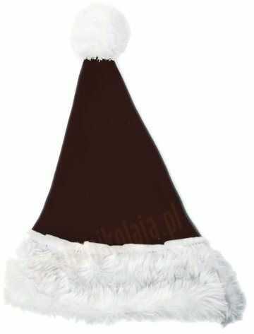 Ciemnobrązowa czapka Mikołaja dla dzieci