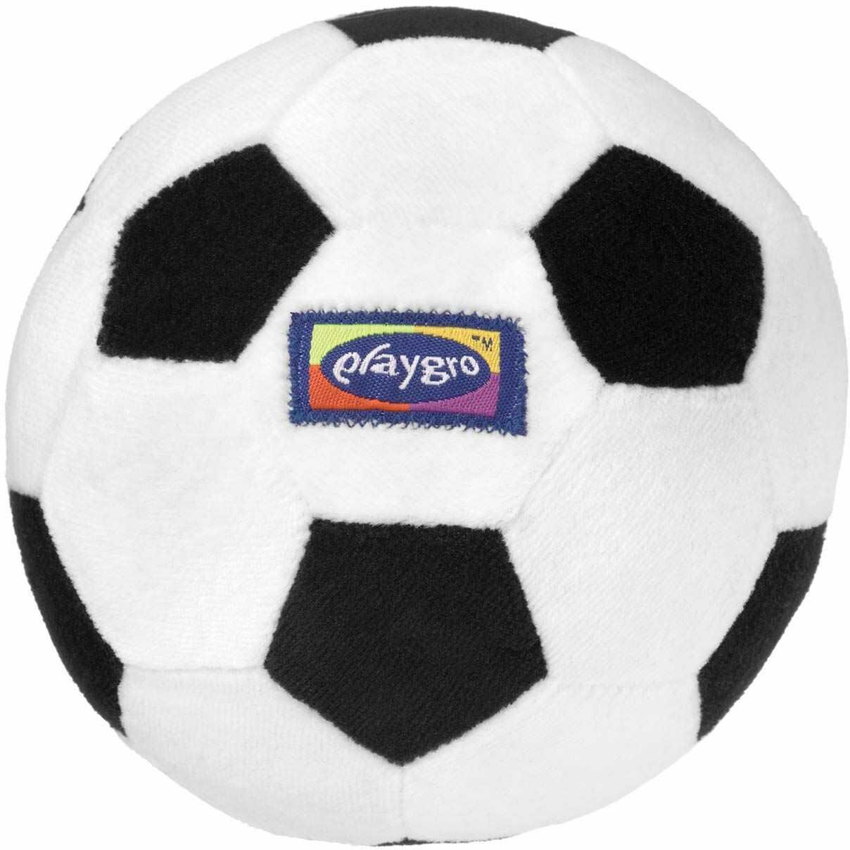 Playgro Moja pierwsza piłka nożna, ze zintegrowaną grzechotką, od 6 miesięcy, My First Soccer Ball, czarny/biały, 40043