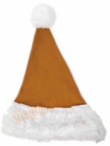 Jasnobrązowa czapka Mikołaja dla dzieci