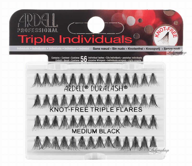 ARDELL - Triple Individuals - Zagęszczone kępki rzęs - KNOT-FREE TRIPLE FLARES - MEDIUM BLACK